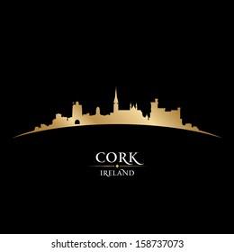 Cork Ireland  city skyline silhouette. Vector illustration