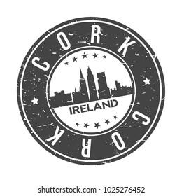 Cork Ireland Europe Round Stamp Icon Skyline City