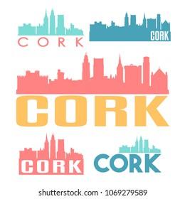 Cork Ireland Flat Icon Skyline Vector Silhouette Design Set