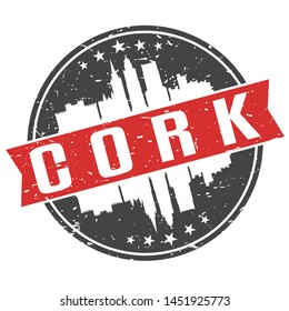 Cork Ireland Round Travel Stamp. Icon Skyline City Design. Seal Tourism Ribbon.