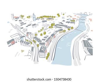 Cork Irland Europe vector sketch city illustration line art