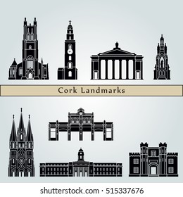 Cork  landmarks and monuments isolated on blue background in editable vector file
