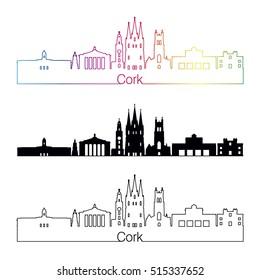 Cork skyline linear style with rainbow in editable vector file
