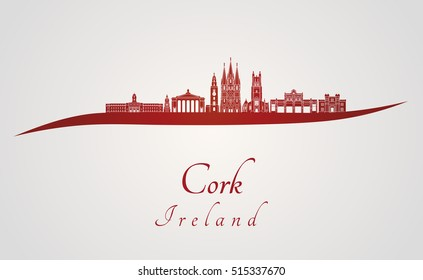 Cork skyline in red and gray background in editable vector file