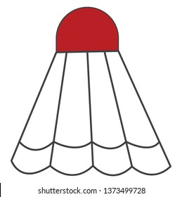 A cork to which white-colored feathers are attached to form a cone shape with a red cap usually struck with rackets in the games of badminton and battledore vector color drawing or illustration