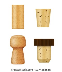 Corks and wine stoppers for bottle, vector realistic 3D objects. Champagne and cognac alcohol drink cork caps or stopper plugs of cork wood natural and synthetic texture