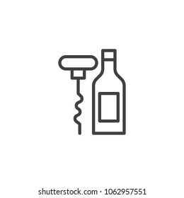 Corkscrew with bottle of wine outline icon. linear style sign for mobile concept and web design. Bottle opener simple line vector icon. Symbol, logo illustration. Pixel perfect vector graphics