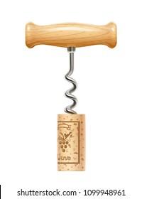 Corkscrew with cork. Device for open wine bottle. Realistic bottle-screw. Kitchenware equipment. Screw liquor opener. Sommelier accessory. Isolated white background. EPS10 vector illustration.