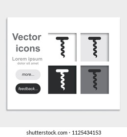 Corkscrew flat placed on web page template vector icon.