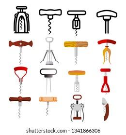 Corkscrew Icon Set Vector. Wine Cork Screw. Open Bottle. Party Bar Tool. Drink Opener Equipment. Beverage Object. Line, Flat Illustration
