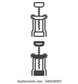 Corkscrew line icon, Bottle opener outline and filled vector sign, linear and full pictogram isolated on white. Symbol, logo illustration