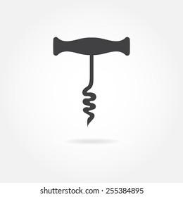 Corkscrew or opener for wine bottle icon. Vector illustration.