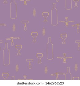 Corkscrews and wine bottles yellow silhouette on purple background seamless pattern. Vector.