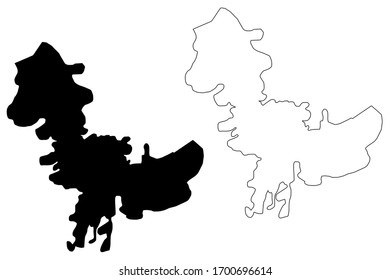 Corlu City (Republic of Turkey, Marmara Region) map vector illustration, scribble sketch City of Corlu map