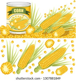 Corn in aluminum can. Canned sweet corn with corn cob logo. Product for  supermarket 97b4e3466ccf