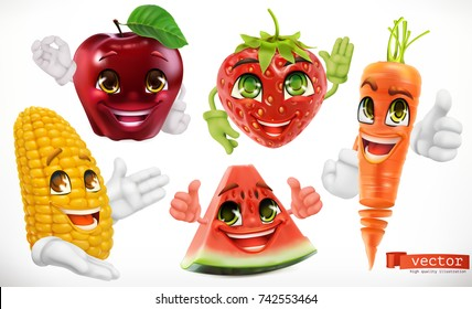 Corn, apple, strawberry, watermelon, carrot. Funny cartoon characters. Kids food, 3d vector set icon