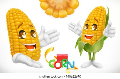 Corn Cartoon Character Food For Kids 3d Vector Icon