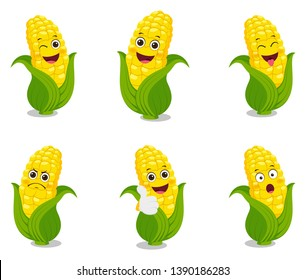 corn cartoon set illustration design