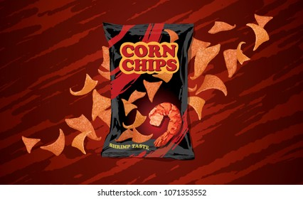 corn chips with shrimp flavor, in a black package