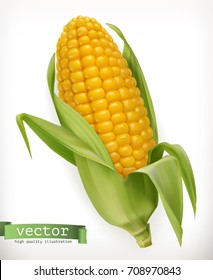 Corn cob. 3d vector icon