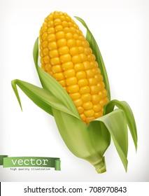Corn cob. 3d vector icon