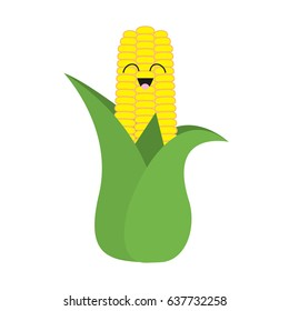 Corn cob ear leaves icon. Yellow color. Vegetable collection. Fresh farm healthy food. Smiling face. Cute cartoon character. Education card. Flat design. White background. Isolated. Vector