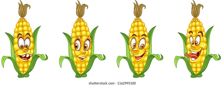 Corn Cob. Vegetable Food concept. Emoji Emoticon collection. Cartoon characters for kids coloring book, colouring pages, t-shirt print, icon, logo, label, patch, sticker.