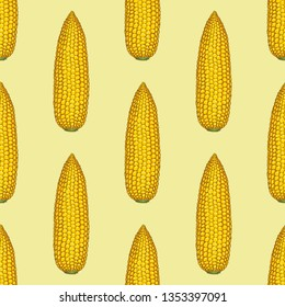 Corn Cob Without Leaves Seamless Pattern on Yellow Background