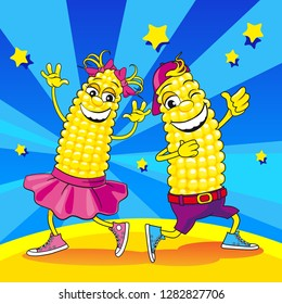 Corn dancing. Funny characters corn boy and girl laugh and dance. Corn personage dancing on dance party. Vector illustration corn characters for children. Fun vegetables dancing.