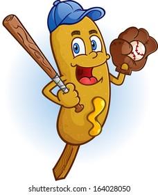 Corn Dog Cartoon Character Playing Baseball