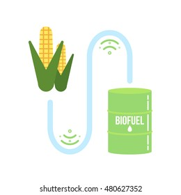 Corn ethanol biofuel vector icon. Alternative environmental friendly fuel.
