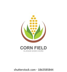 Corn field farm logo vector