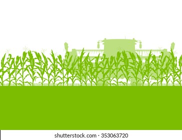 Corn field harvesting with combine harvester green ecology organic food abstract rural autumn vector background