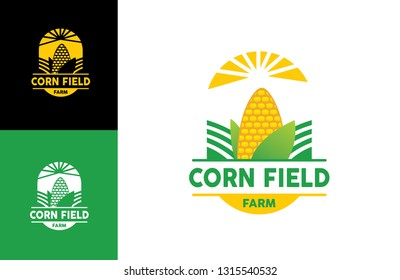 corn field logo farm house and care field