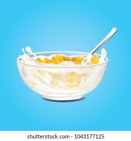 Corn flakes , cereal and milk splash in bowl vector illustration