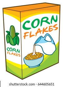 corn flakes packing box vector illustration (healthy breakfast)