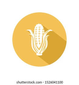 Corn icon vector. illustration of corn isolated on yellow circle. healthy vegetable, nutrition icon