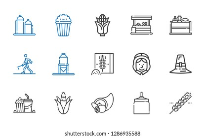 corn icons set. Collection of corn with cereal, oat, cornucopia, popcorn, pilgrim, wheat flour, silo, farmer hoeing, vegetable, vegetables. Editable and scalable corn icons.