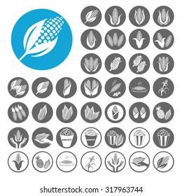 Corn icons set. Illustration EPS10