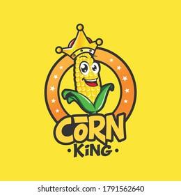 corn king mascot character logo