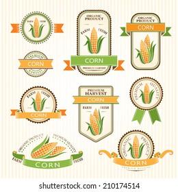 Corn labels. Vegetables color package decorations set.