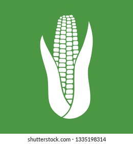 corn with leaves - vector icon
