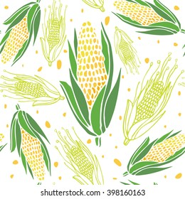 Corn seamless pattern. Abstract corn on white background. Hand drawn Vector illustration