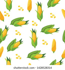 Corn - seamless pattern. Wrapping paper, Wallpaper. Organic products. Vector illustration