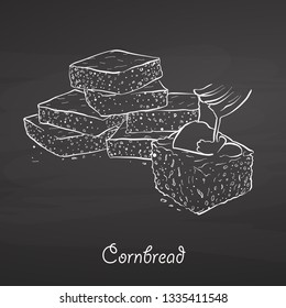 Cornbread food sketch on chalkboard. Vector drawing of Cornbread, usually known in America. Food illustration series.