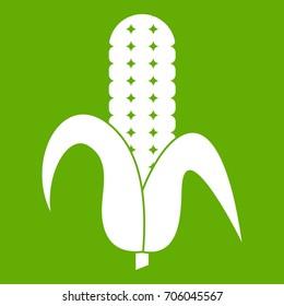 Corncob icon white isolated on green background. Vector illustration