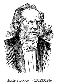 Cornelius Vanderbilt, 1794 -1877, he was an American business magnate and philanthropist who built his wealth in railroads and shipping, vintage line drawing or engraving illustration
