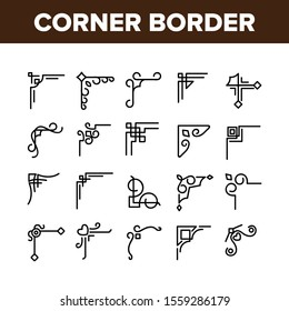 Corner Border Collection Elements Icons Set Vector Thin Line. Different Style Corner Border, Decorative Frame Kit, Vintage Floral Decoration Concept Linear Pictograms. Monochrome Contour Illustrations