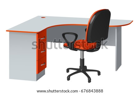 office desk cable hole. Corner Computer Desk With Cable Hole And Office Chair, Orange Gray, On  White B