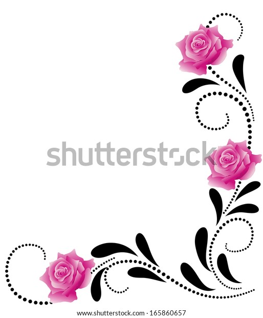 corner decorative floral ornament pink roses stock vector royalty free 165860657 shutterstock
